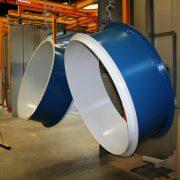 Blauwe Abcite coatings op een ventilator